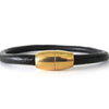 Unisex Black Leather Bracelet with Gold-Tone Clasp