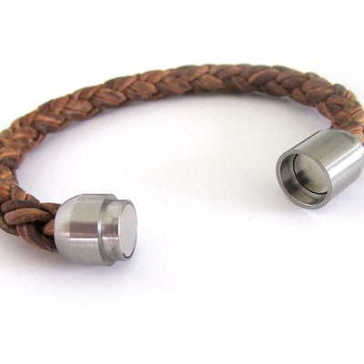 Men's Brown Bolo Leather Bracelet with Brushed Stainless Steel Clasp