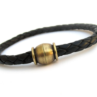 Unisex Black Leather Braided Bracelet with Antiqued Brass Clasp