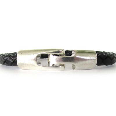 Unisex Braided Leather Bracelet with Antique Silver Clasp