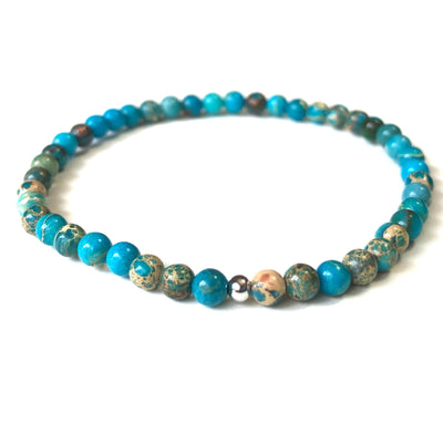 Mini Blue Jasper Gemstone 4mm Bead Energy Bracelet
