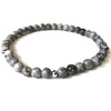 Mini Grey Jasper Gemstone 4mm Bead Energy Bracelet