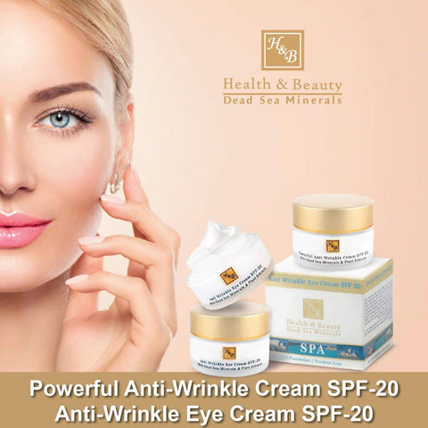Health & Beauty - 1+1 SET - Powerful Anti-Wrinkle Cream SPF-20 & Anti-Wrinkle Eye Cream SPF-20 - DeadSeaShop.co.uk