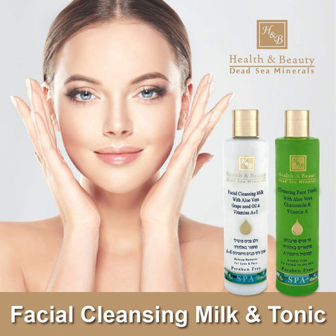 Health & Beauty - 1+1 SET - Facial CLeansing Milk & Tonic - DeadSeaShop.co.uk