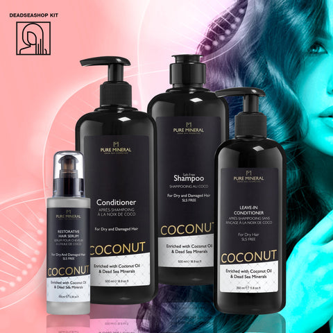 "Coconut Shampoo & Conditioner +  <strong><span style=""color: #ff2a00;""><big>2 FREE</big></strong> Leave-In Conditioner & Serum"