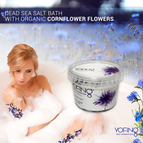 YOFING - Dead Sea Salt with Organic Сornflower Flowers - DeadSeaShop.co.uk