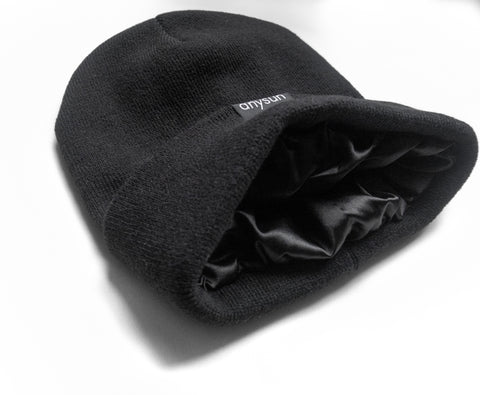 Anysun Black satin lined beanie with satin interior exposed