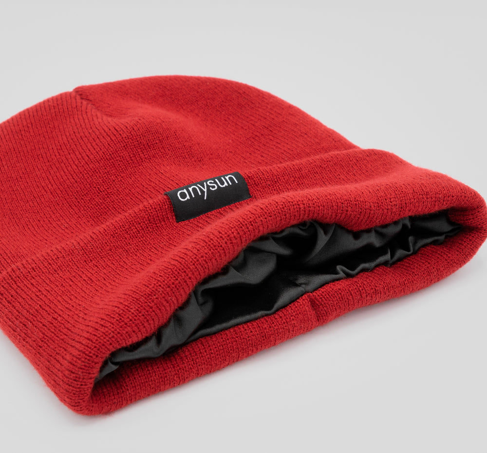 Load image into Gallery viewer, Red Satin-lined Beanie - anysun