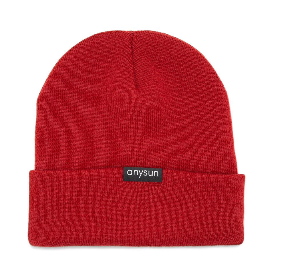 Red Satin-lined Beanie - anysun