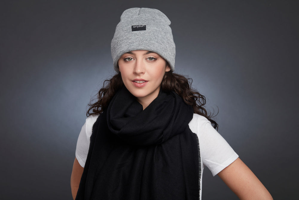 Load image into Gallery viewer, Gray Satin-Lined Beanie - anysun