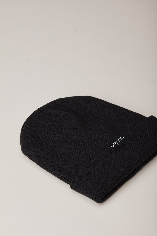 Black Satin-Lined Beanie - anysun