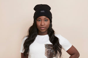 Load image into Gallery viewer, Black Satin-Lined Beanie - anysun