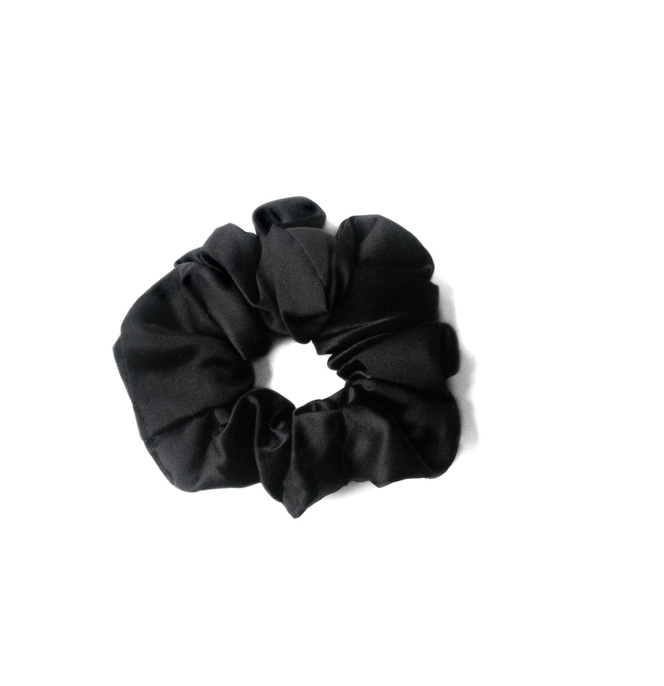 Black Silk Hair Scrunchie - anysun
