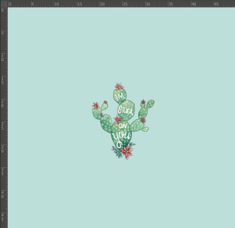 *PREORDER* Custom Euro Knit - Cactus Panel Mint, Little
