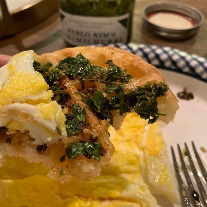 Waffle and Eggs.... with Chimichurri!