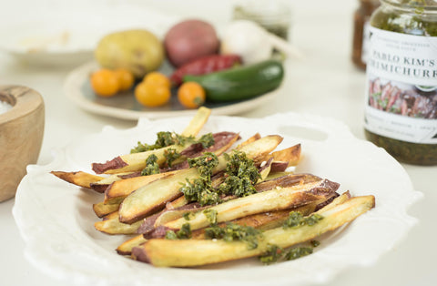 chimichurri with fries. How to eat chimichurri Pablo Kim's chimichurri, more chimichurri
