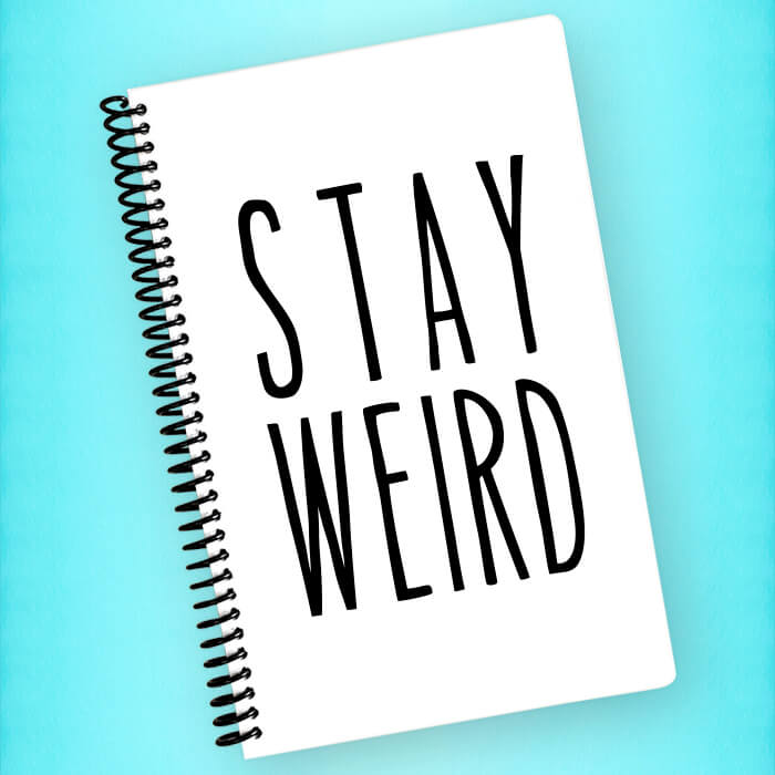Stay Weird Spiral Notebook - Blush Buffalo