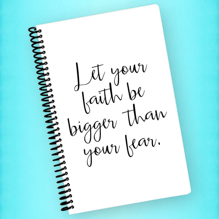 Faith Bigger than Fear Spiral Notebook - Blush Buffalo