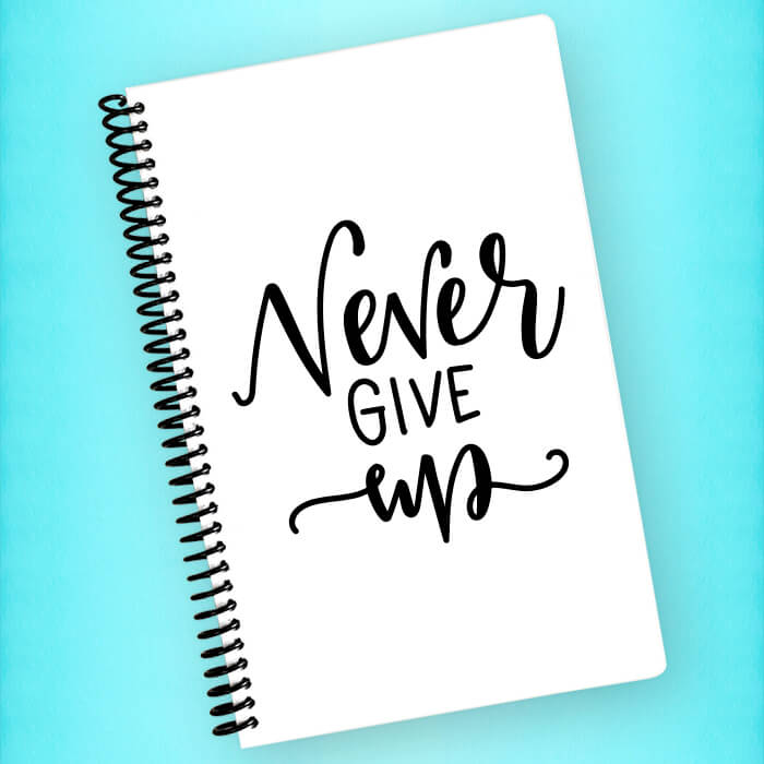 Never Give Up Spiral Notebook - Blush Buffalo