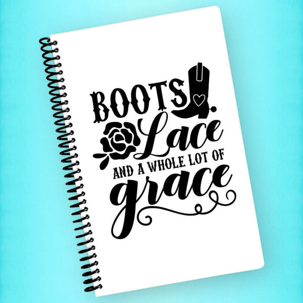 Boots Lace Grace Spiral Notebook - Blush Buffalo