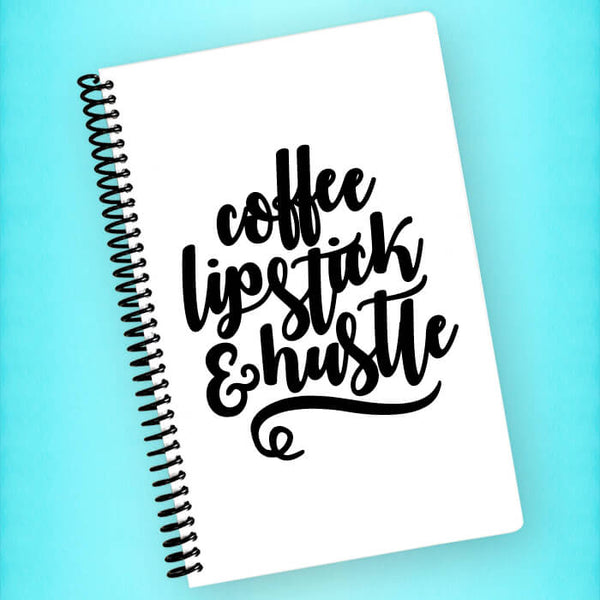 Coffee Lipstick & Hustle Spiral Notebook - Blush Buffalo