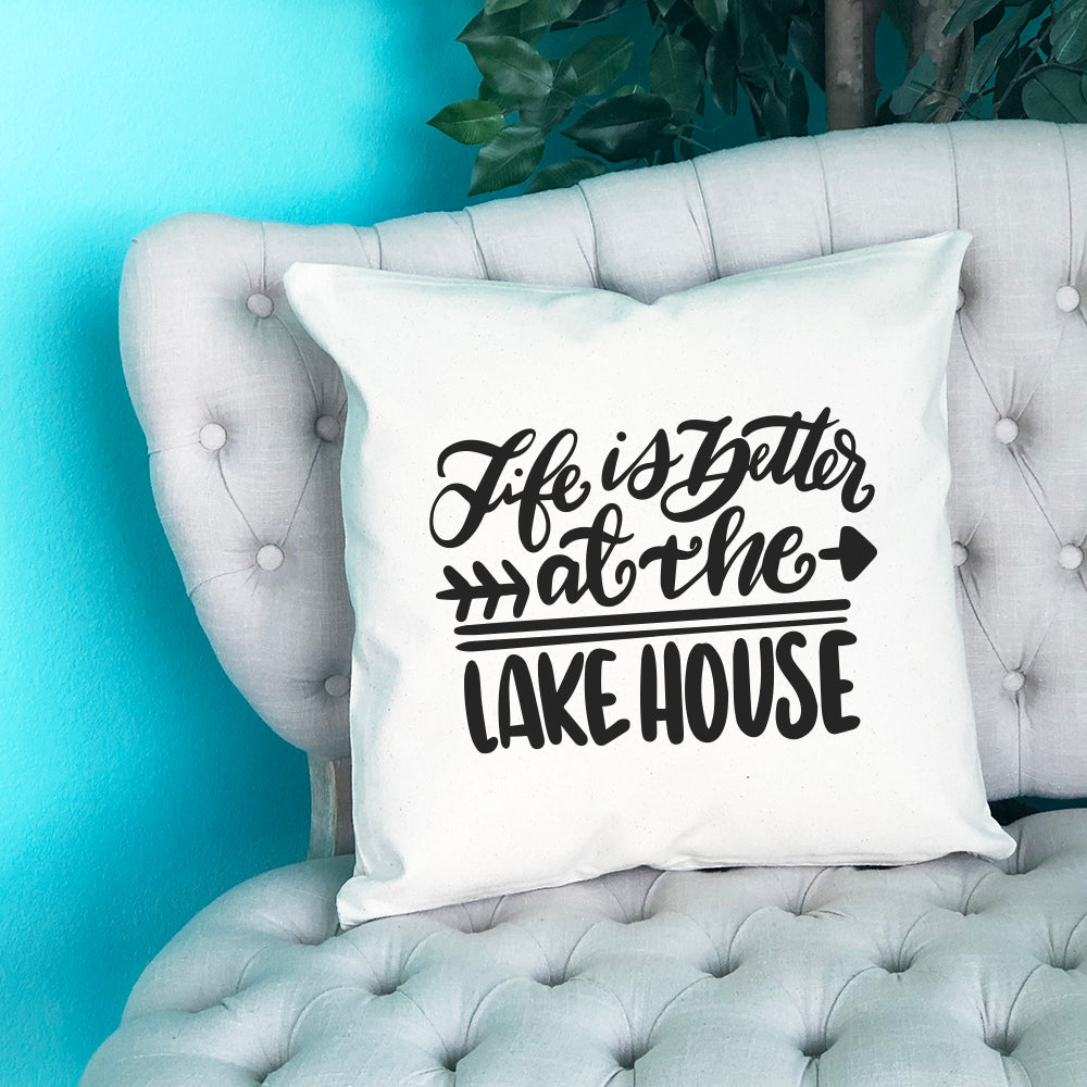 Life is Better at the Lake House Throw Pillow - Blush Buffalo
