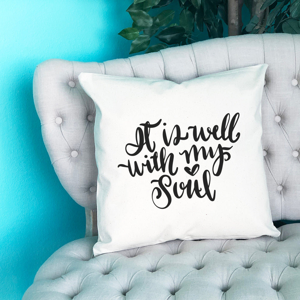 It is Well with my Soul Throw Pillow - Blush Buffalo
