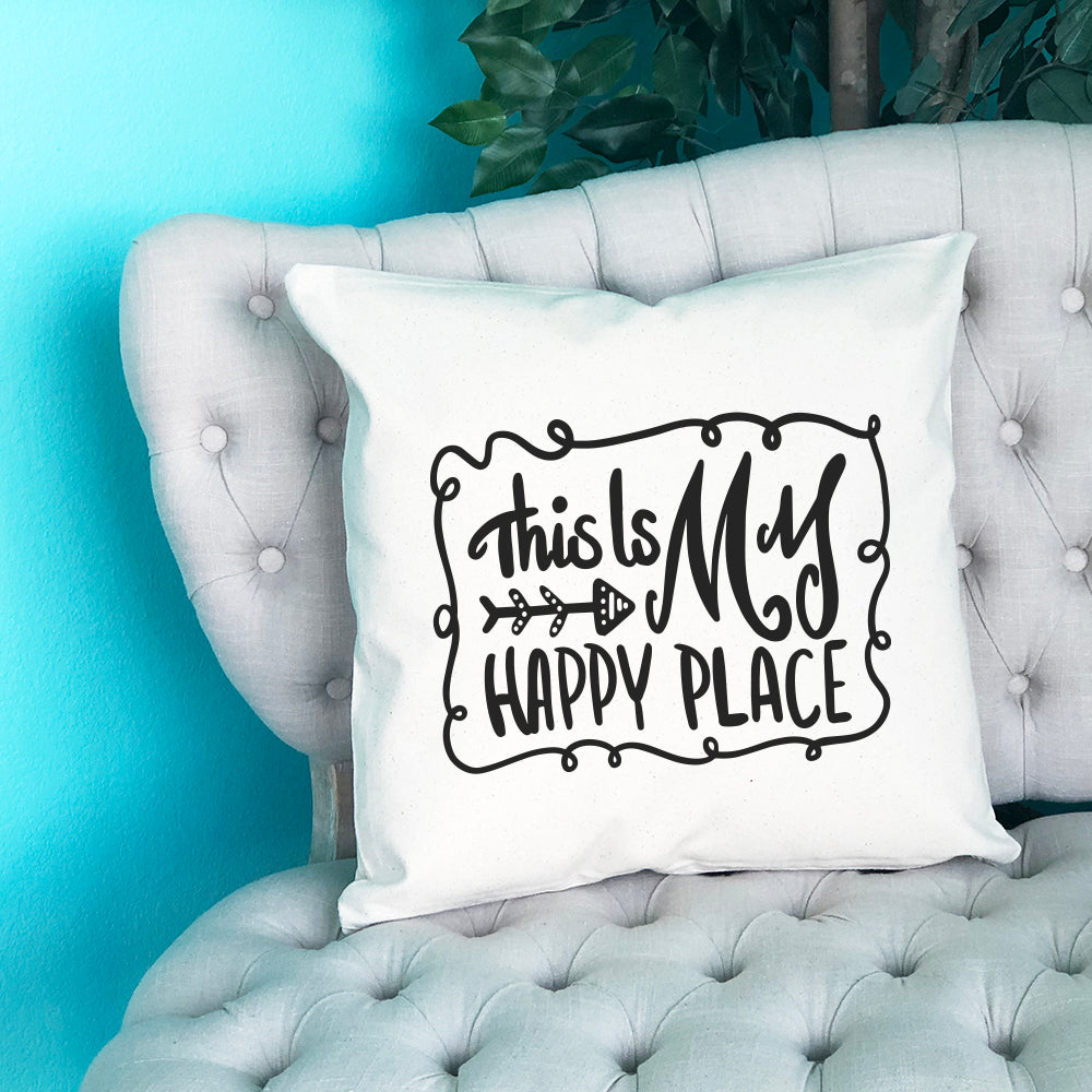 This is My Happy Place Throw Pillow - Blush Buffalo