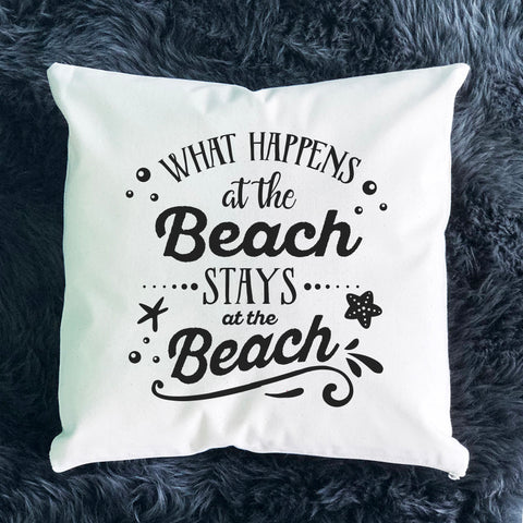 What Happens at the Beach Throw Pillow