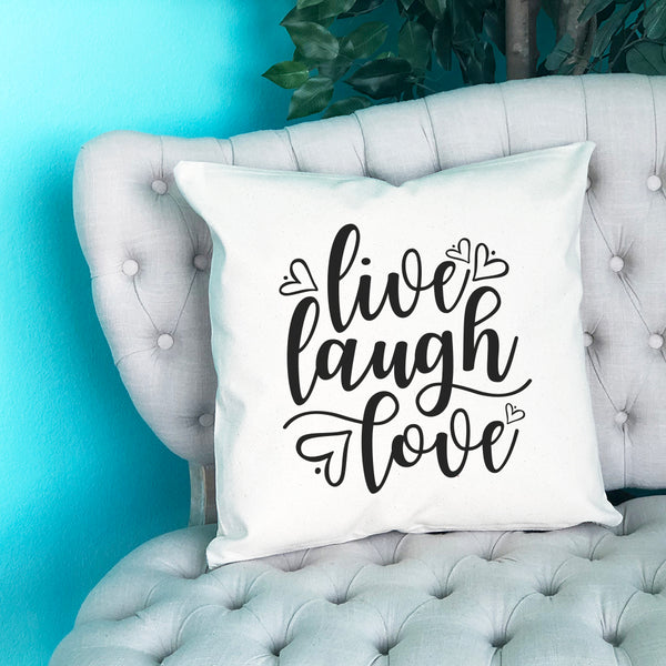 Live Laugh Love Throw Pillow - Blush Buffalo