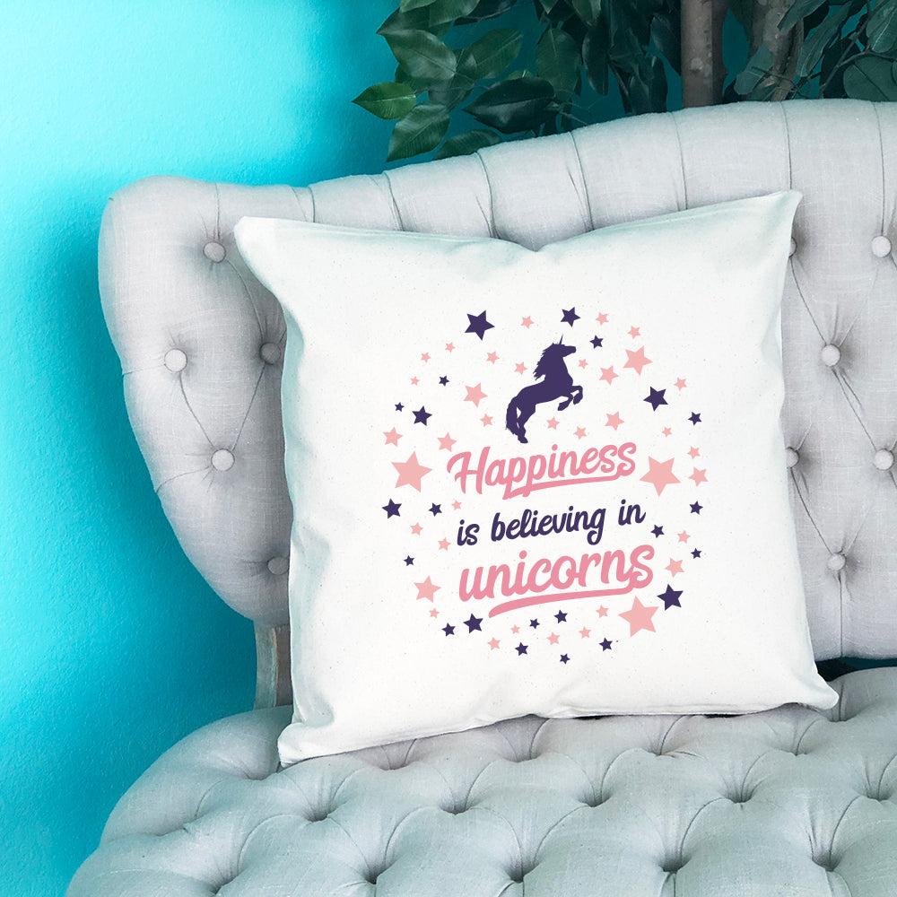 Happiness is Believing in Unicorns Throw Pillow - Blush Buffalo