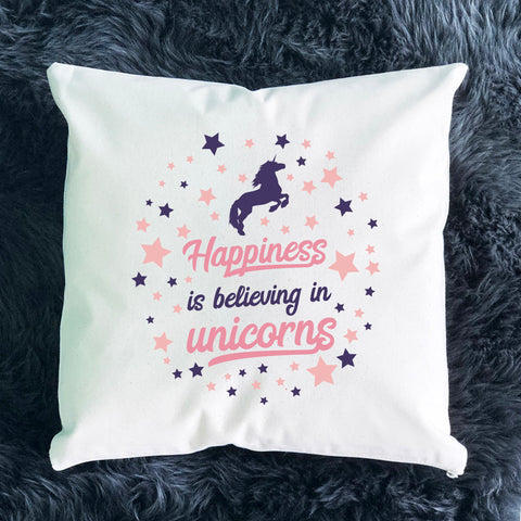 Happiness is Believing in Unicorns Throw Pillow
