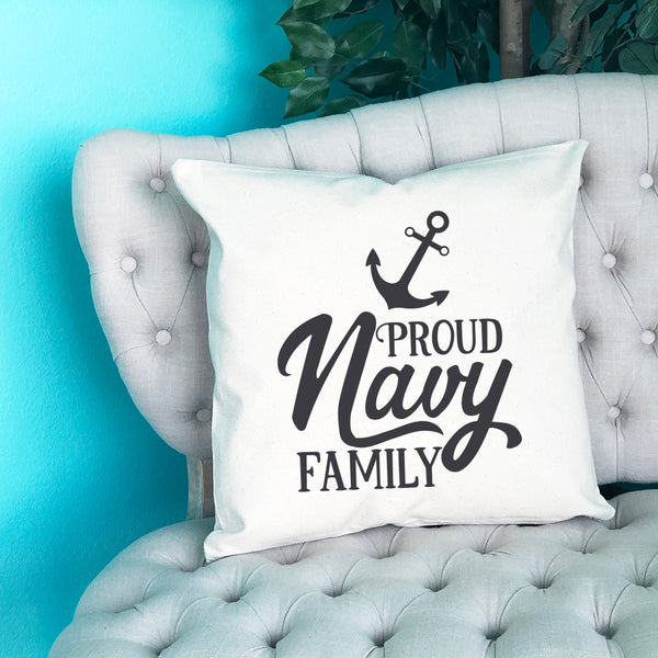 Proud Navy Family Throw Pillow - Blush Buffalo