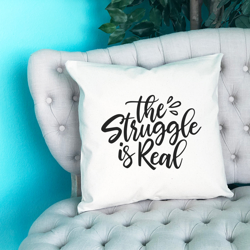 The Struggle is Real Throw Pillow - Blush Buffalo