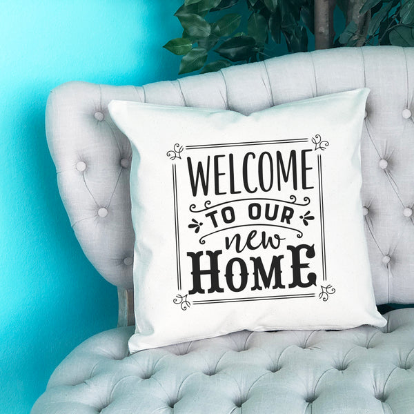 Welcome to Our New Home Throw Pillow - Blush Buffalo