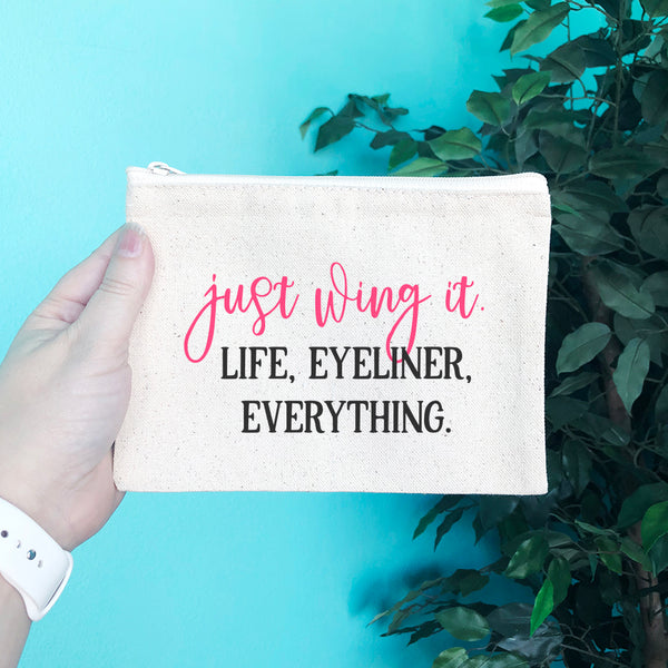 Just Wing It Life Eyeliner Everything Pencil & Makeup Bag - Blush Buffalo