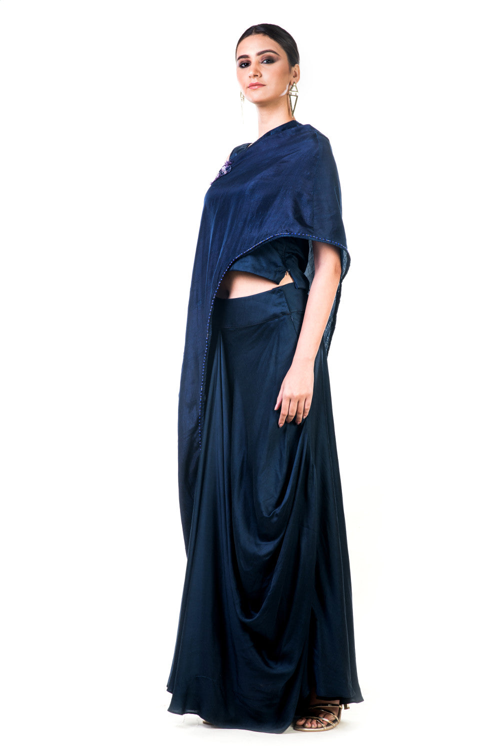Anushree Agarwal. Midnight Blue Draped Gown With A Cape – Velvetry