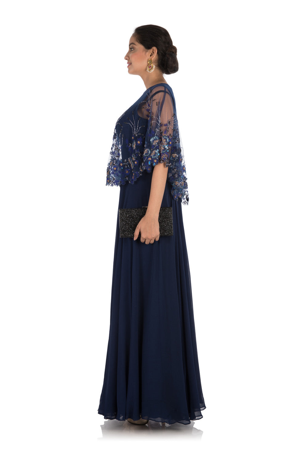 Anju Agarwal. Midnight Blue Embroidered Cape Gown – Velvetry