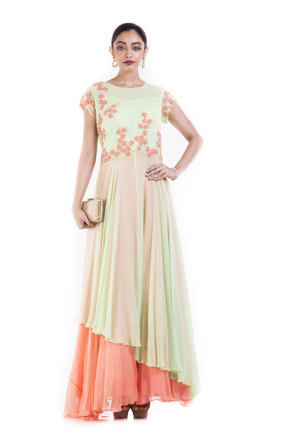 Anju Agarwal Green And Orange Double Layer gown – Velvetry