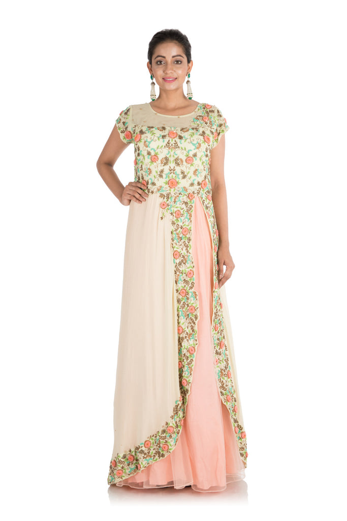 Anju Agarwal. Pale Peach And Yellow Embroidered Gown – Velvetry