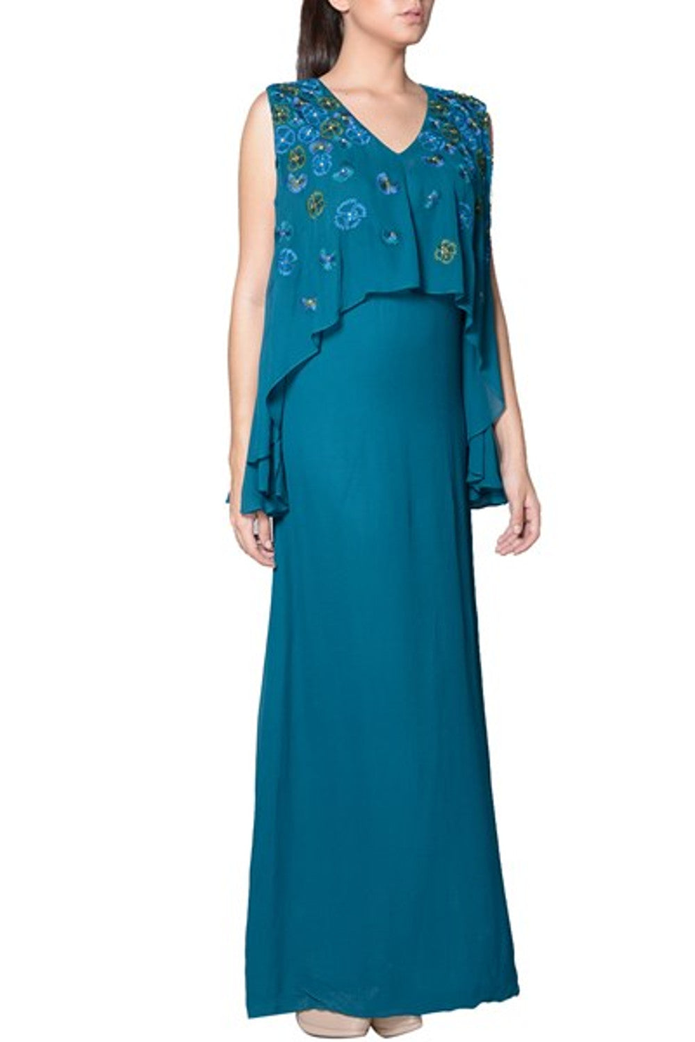 Mandira Wirk. Teal Thread Embroidered Cape Gown – Velvetry