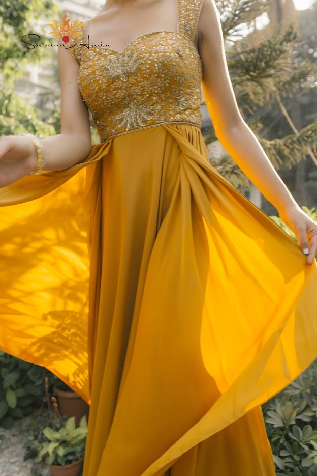 Image result for mustard gown