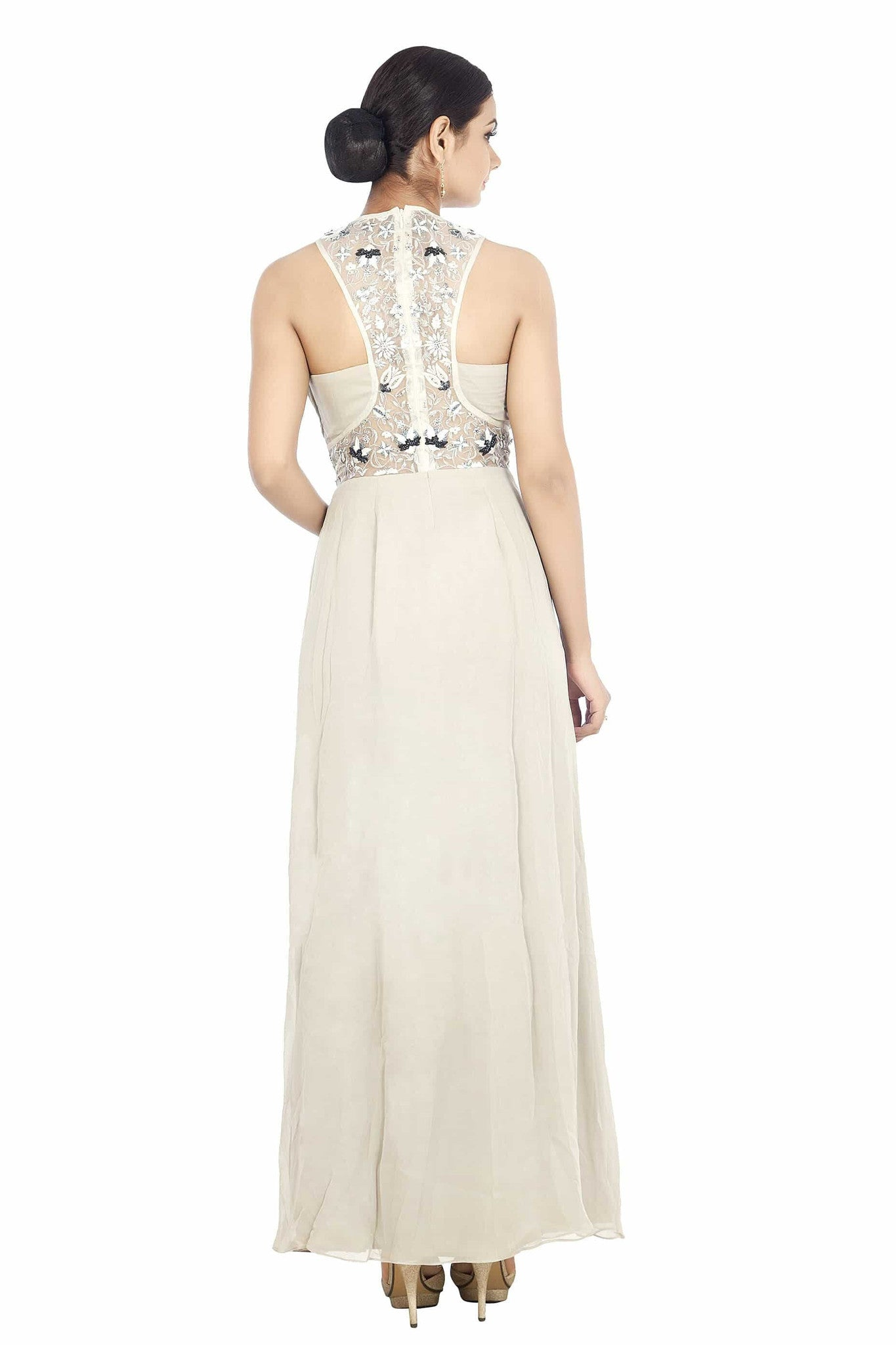 Miesu Light Grey Hand Embroidered with Embellished Sweep Neck Gown ...