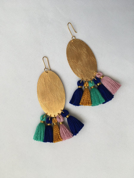 Oval Roll-Pressed Tassel Drop Earrings (Waterfall)