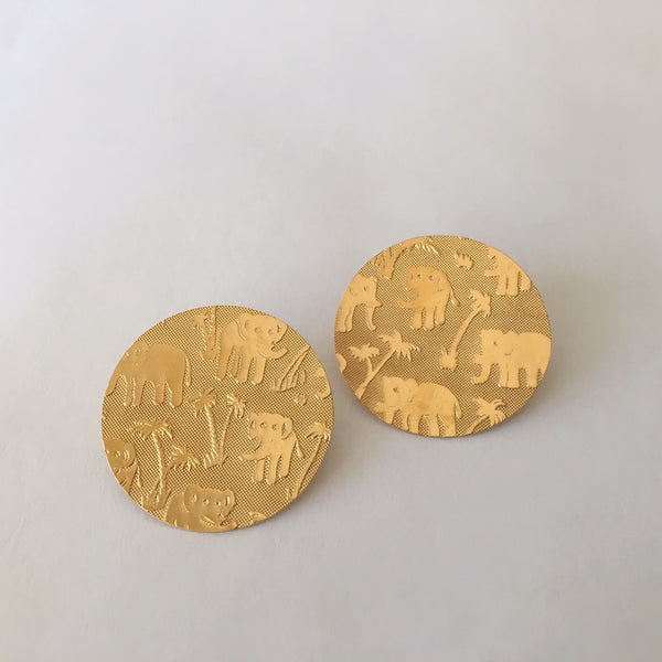 Elephant Roll Pressed Post Earrings