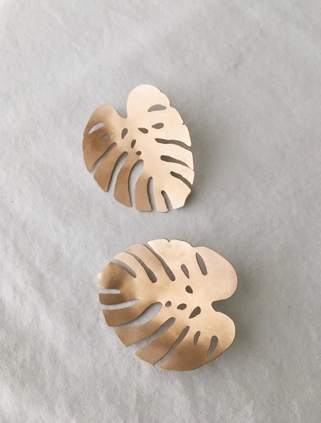 Monstera Leaf Post Earrings (Large)