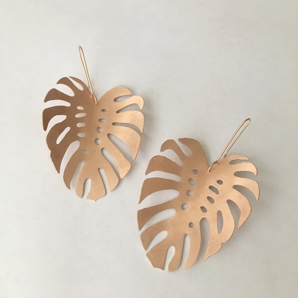 Monstera Leaf Drop Earrings (Large)