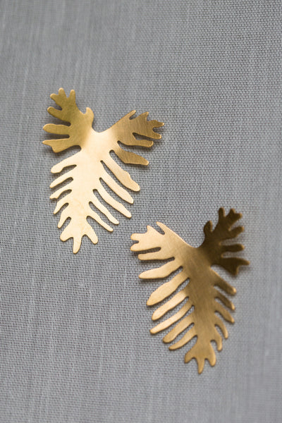 Split Leaf Philodendron Post Earrings