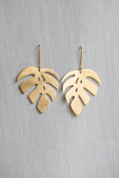 Monstera 1 Leaf Drop Earrings