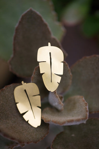 Banana Leaf Post Earrings